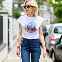 spring on the back of a snail graphic funny t shirts women clothes ropa aesthetic short sleeve white top 2021 new brazil urban