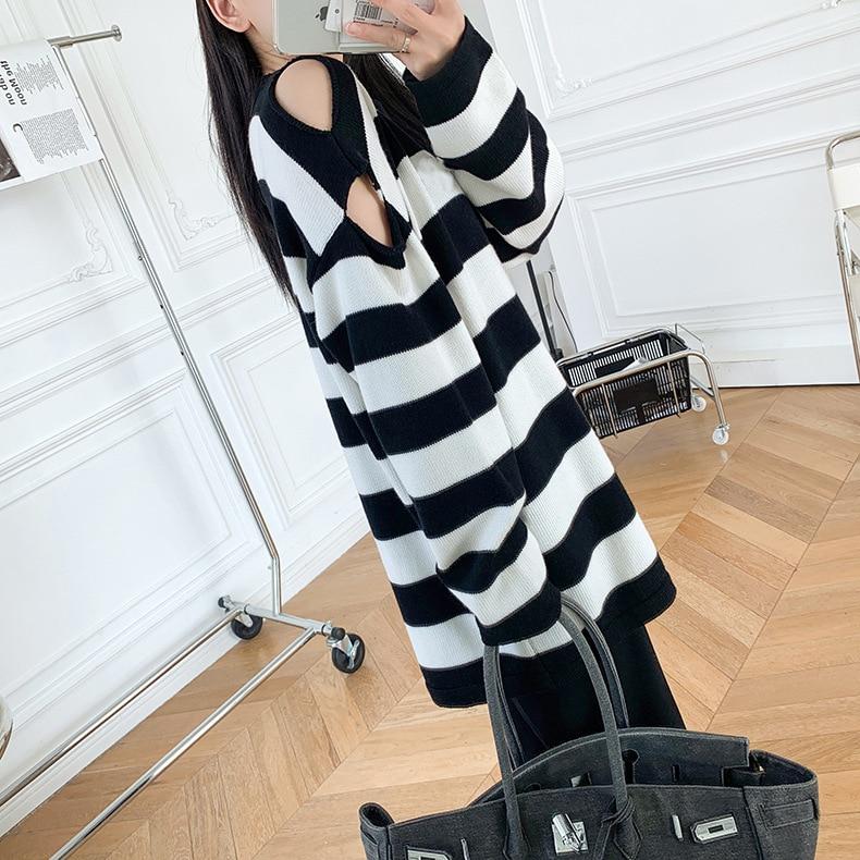 Gezelligheid Sweater Pullover 2021 Spring Autumn Fashion Designer Elegant Casual Embroidered Black White Stripes Knitting Tops enlarge