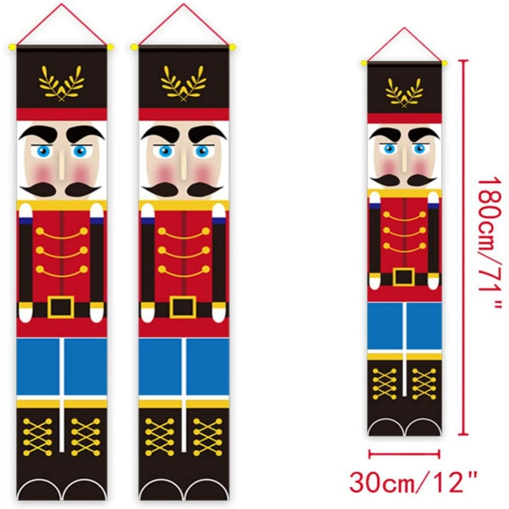 30X180CM Creative Christmas Walnut Soldier Door Curtain Hanging Banners Porch Sign Indoor Outdoor Xmas Wall Decor Party Supplies