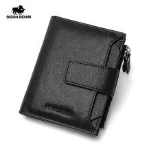 BISON-DENIM-portefeuille en cuir véritable pour hommes, portefeuille avec pli à la mode, porte-monnaie à fermeture éclair, porte-cartes de bonne qualité, N4507