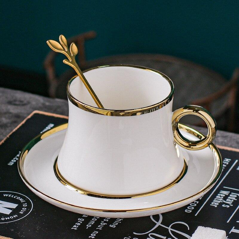 كوب سيراميك أنيق ، ملعقة معدنية ذهبية نورديك ، الحد الأدنى ، كابتشينو ، فنجان قهوة ، شاي ، عظم ، الصين ، Taza Desayuno ، DK50CS