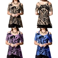 cold shoulder tunic tops for woman summer colorful print t shirt ladies sexy slash neck low cut loose tee