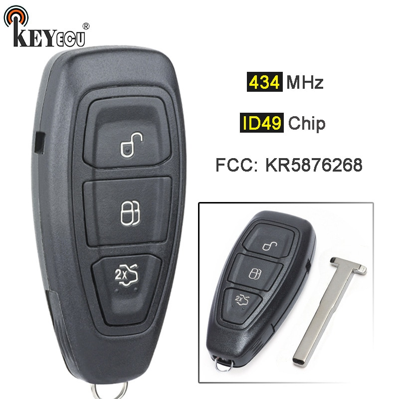 Keyecu 434mhz pcf7953p id49 chip kr5876268 replacemet remoto chave fob 3 botão para * d c-max foco grande c-max kuga mon * deo