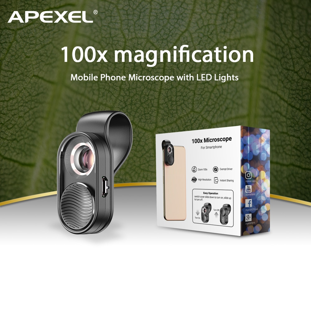 APEXEL 100X الهاتف المحمول المجهر مايكرو عدسة مصباح ليد مجهر صغير عدسة مكبرة مع مشبك عالمي للهواتف