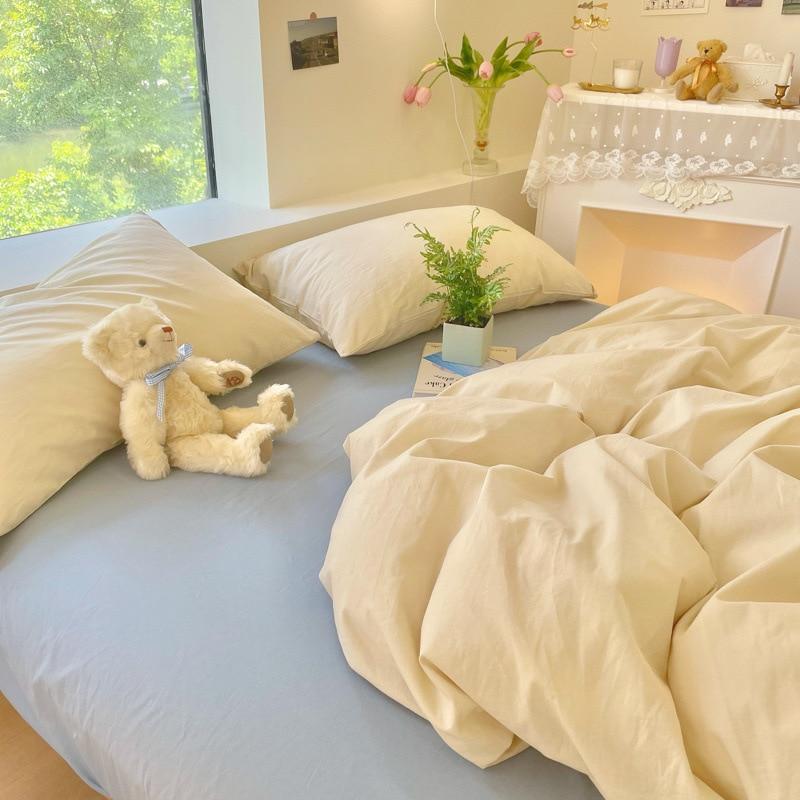Ins Style 100% القطن Soild اللون طقم سرير AB مزدوجة الجانب المنزل المعزي مجموعة التوأم الملكة الملك الحجم طقم سرير s
