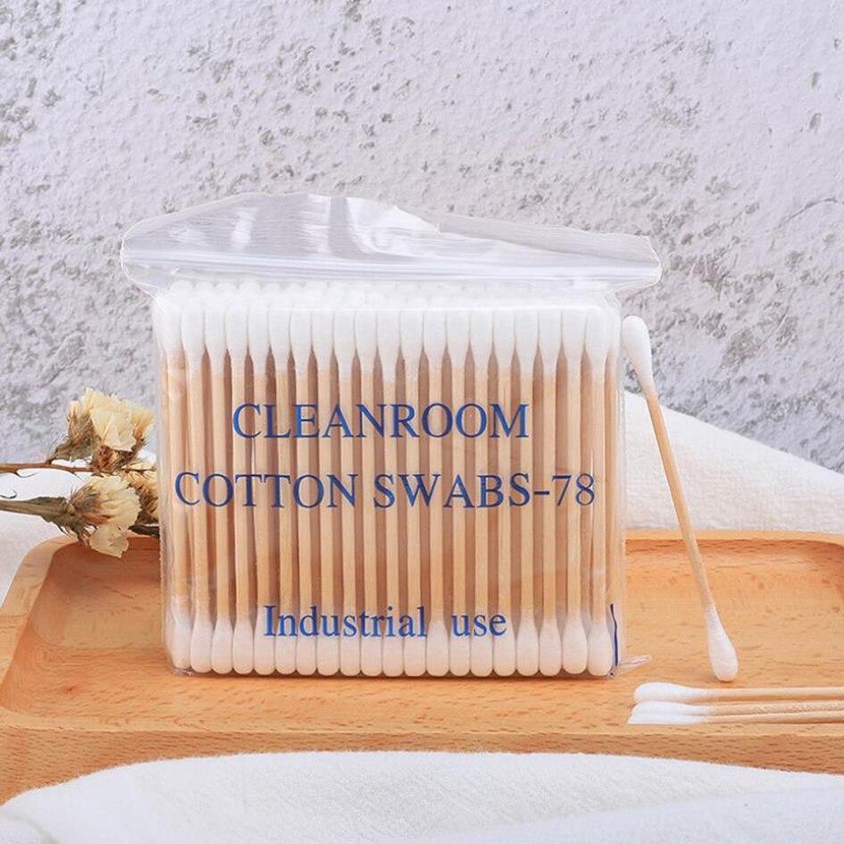 Double-headed wooden stick cotton swab 3 inch wipe cotton swabs sanitary cotton swabs have been sterilized 100 pcs / bag