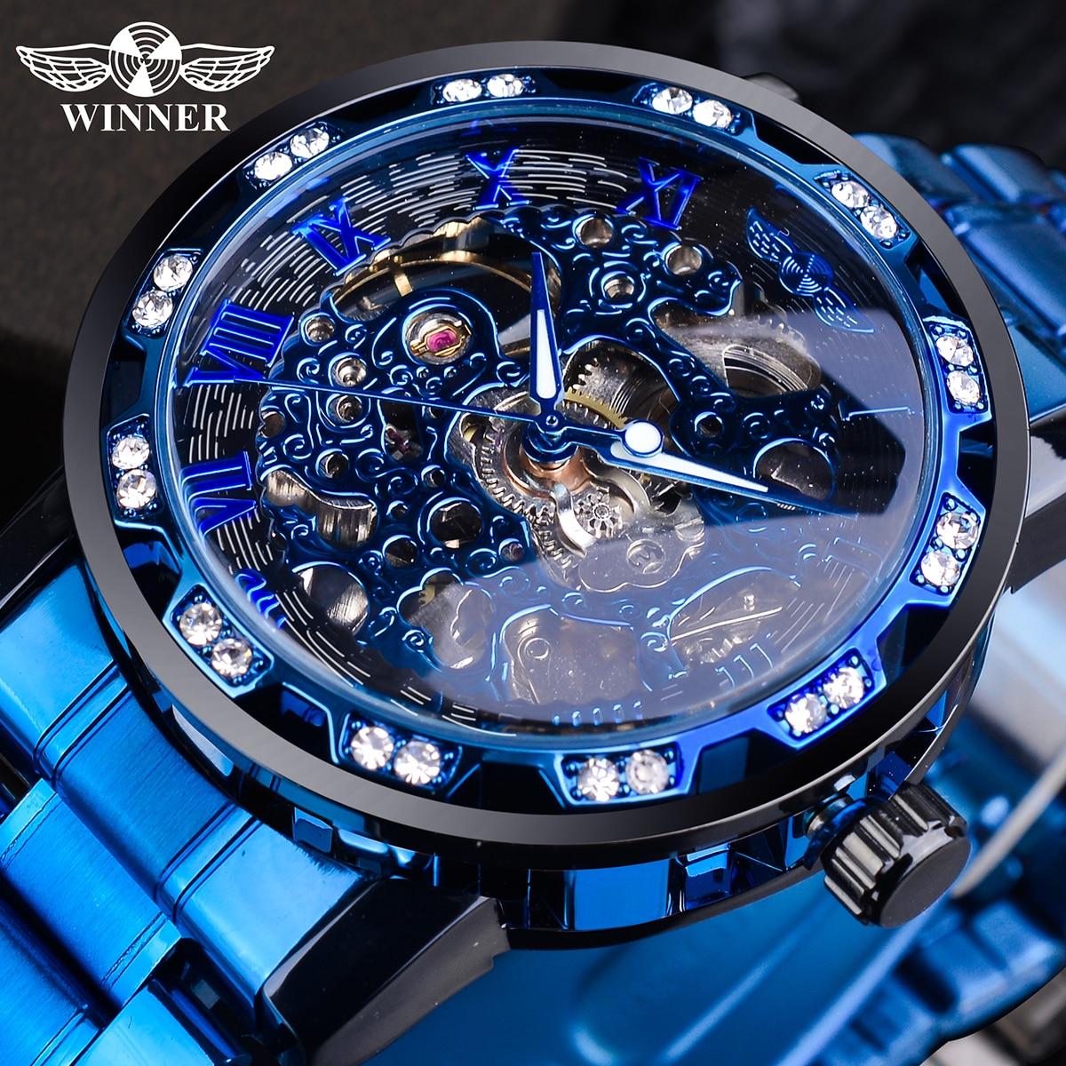 Winner Transparent Diamond Mechanical Watch Blue Stainless Steel Skeleton Watch Top Brand Luxury Bus