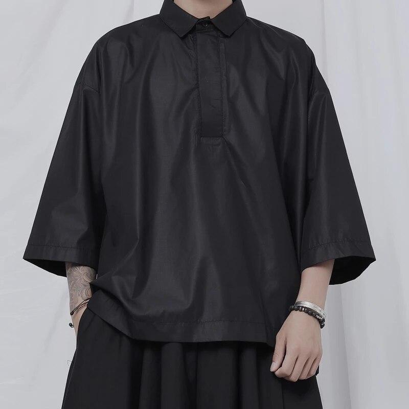 قميص رجالي جديد غير رسمي 3 / 4 كم قميص ياماموتو الظلام تصميم المتخصصة يعوض اتجاه قمصان فضفاضة
