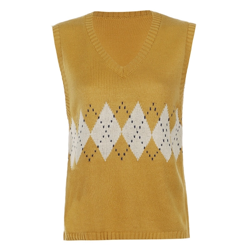Women Knitted Loose Sleeveless Vest V-Neck Argyle Plaid Pattern Sweater Tank Top enlarge