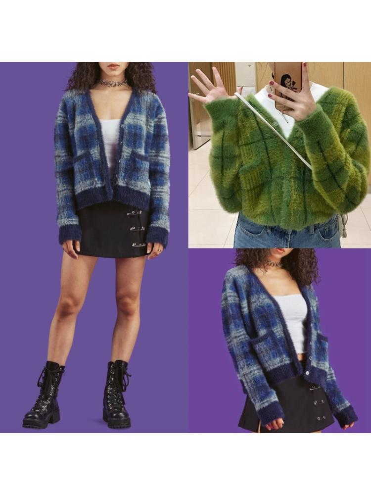 Women Long Sleeve Plaid Knit Cardigan V-Neck Button Fuzzy Plush Sweater Coat enlarge