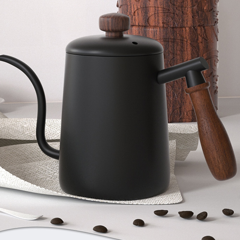 Ttlife 600ml gotejamento chaleira bule de chá de café antiaderente grau alimentício gotejamento aço inoxidável gotejamento chaleira pescoço cisne boca fina