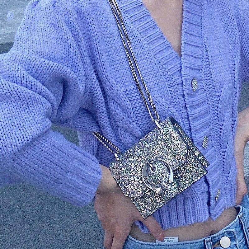 العلامة التجارية مصمم ماس لامع حقائب كروسبودي للنساء صغيرة لطيف السيدات الرافعة حقيبة جانبية Chian موضة الإناث المحافظ وحقيبة يد
