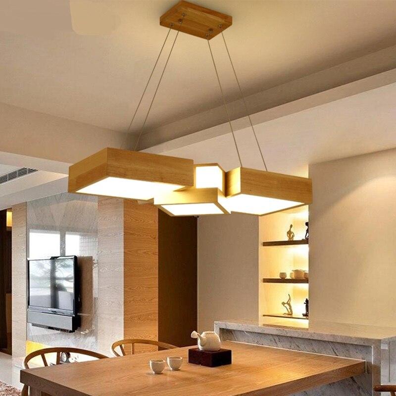Lámpara de madera sólida para restaurante, oficina, madera sólida, comedor, lámpara nórdica rectangular ZH