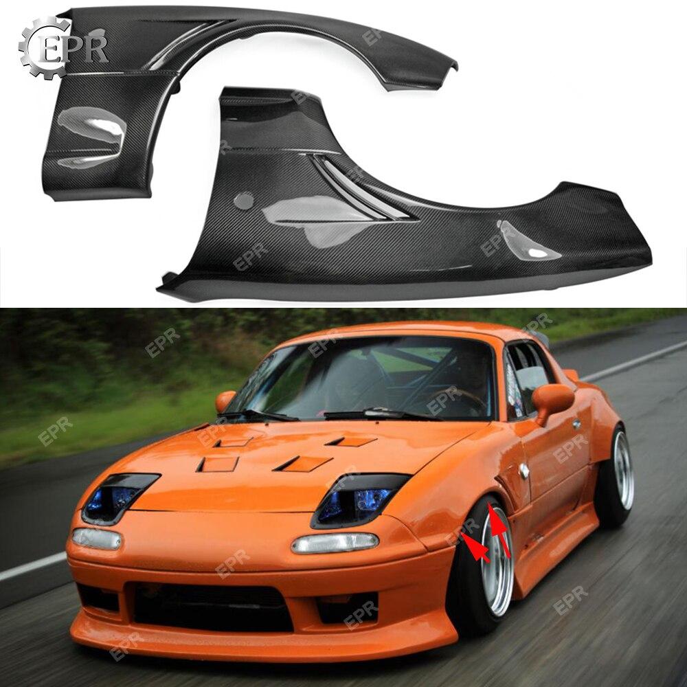 Для Mazda MX5 NA6 NA8 углеродное волокно JDM переднее более широкое вентилируемое крыло + 20 мм комплект для обшивки деталей для MX5 углеродное переднее крыло