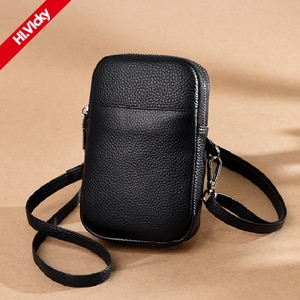 Genuine Leather A Bag Female Head Layer Cowhide Lady Shoulder Bag European Fashion Women Messenger Bag Portable Black Small Bag