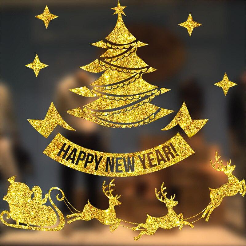 Pegatinas navideñas estáticas para ventana, decoración navideña, papel tapiz de Halloween, decoraciones de ventanas de vidrio, pegatinas para pared plana