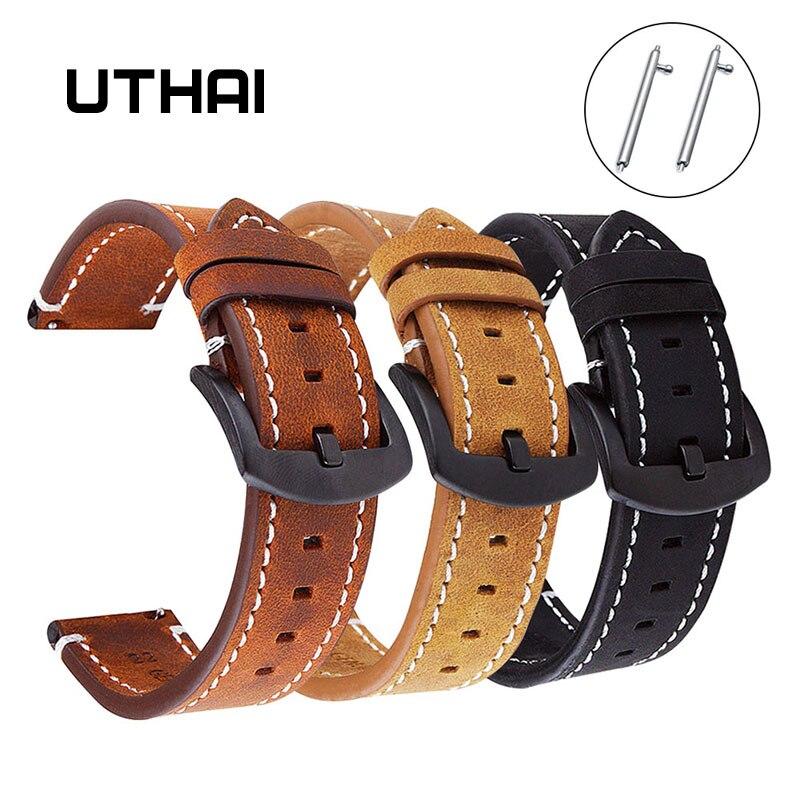 UTHAI P18 Geniune высококачественный Ретро телячий кожаный ремешок для часов 18 мм 20 мм 22 мм ремешок для часов Samsung для часов Huawei