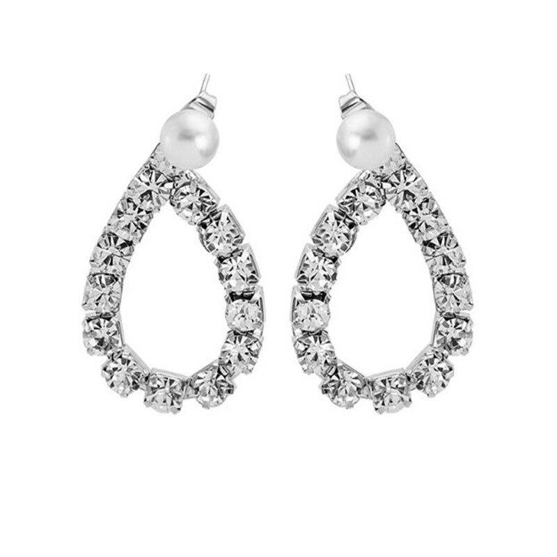 2020 Japan and South Koreas New Water Drop Ultra Flash Hong Kong Style Luxury Rhinestone Pearl Geometric Dating Stud Earrings