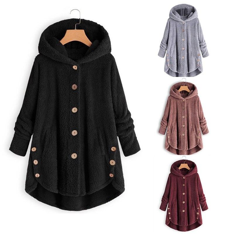 Abrigo cálido para mujer, largo suelto 2019, Tops esponjosos para mujer, Abrigo con capucha con botones, abrigo de invierno asimétrico de lana suave con capucha, prendas de vestir, abrigo de piel