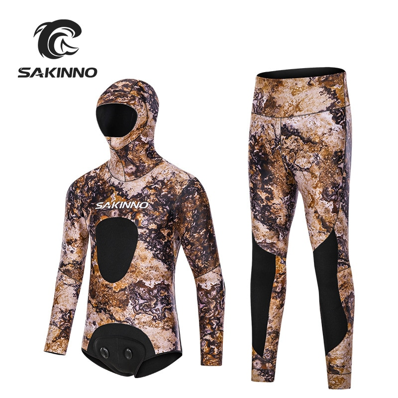 3.5MM Adults Scuba Neoprene Two Pieces Wetsuit With Hooded Surfing Diving Suit Spearfishing Undet Water Sports Hunting SwimWear