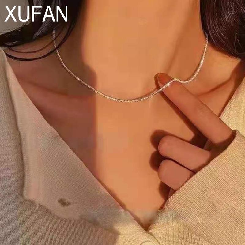 XUFAN блестящий серебряный цвет сверкающая цепочка-чокер ожерелье ошейник для женщин ювелирные изделия Свадебная вечеринка подарок на день рождения