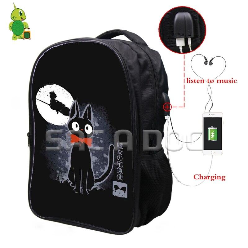 Mochila de fluorescencia Ghibli Anime Kiki, servicio de entrega, auriculares de carga USB multifunción, mochilas escolares para adolescentes