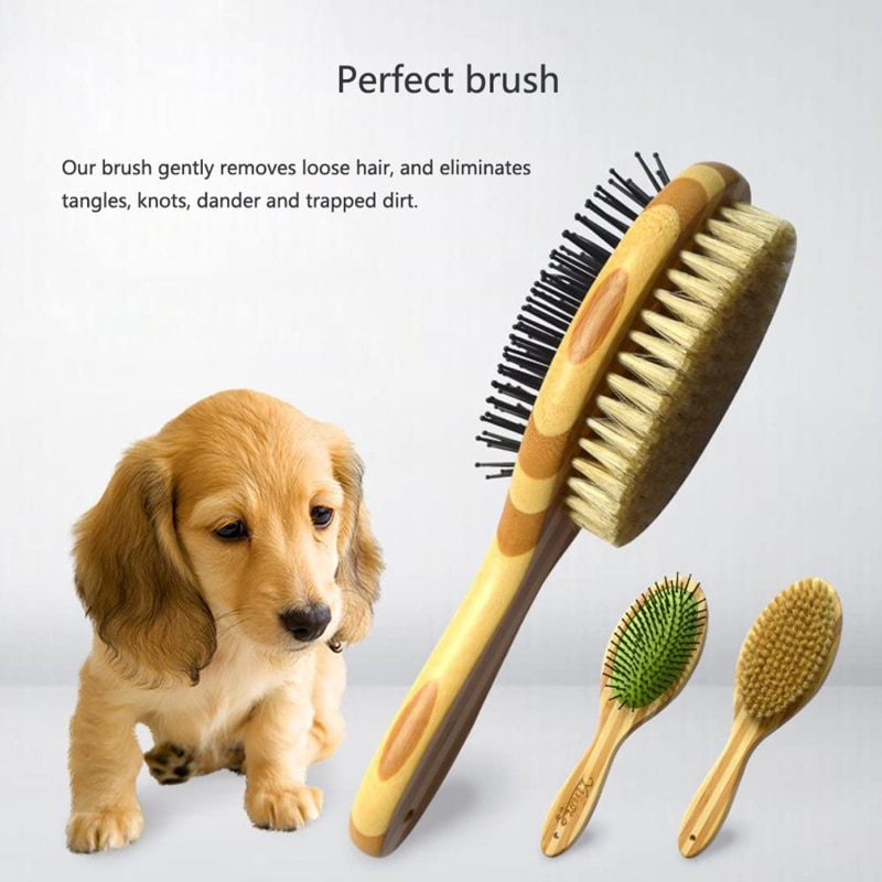 Pet Double Sides Bath Brush Dog Cat Wooden Comb Pet Faces Fur Grooming Tools for Long & Short Hair D