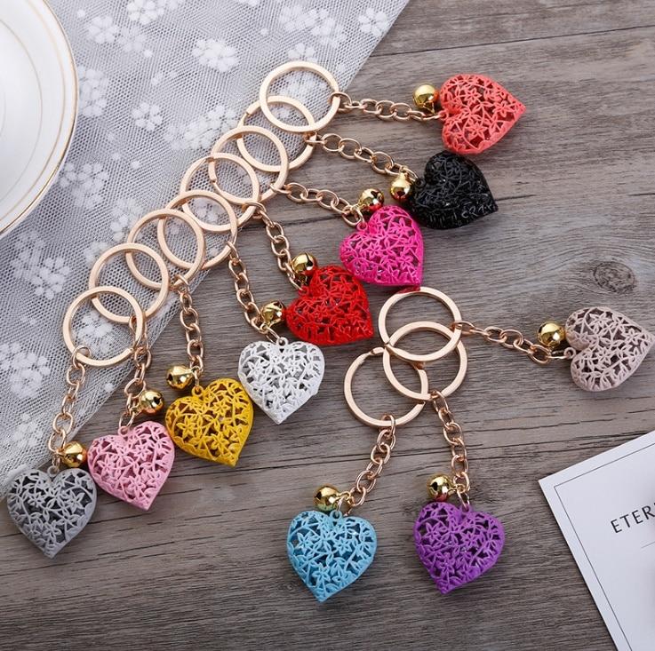 AliExpress - Fashion metal heart key chain colorful heart metal clock and clock key chain pendant gift 1
