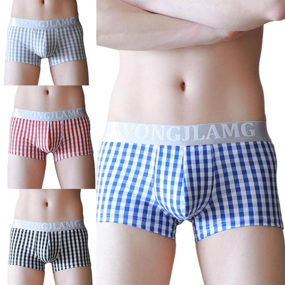 Soutong Men Underpants Man Boxer Solid Underpants Comfortable Shorts Plaid U Convex Simple Low Waist