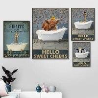 Affiche de bain a bulles Highland  peinture sur toile  decoration de maison