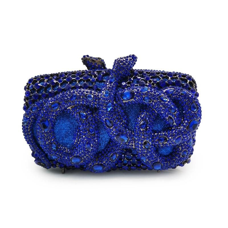 أنثى زفاف أزرق/ذهبي حجر الراين ماسك من الكريستال محفظة موضة الماس مساء حقائب براثن فاخرة سلسلة شنطة كتف
