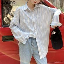 2020 Spring New Blue And White Striped Shirts Women Long Sleeve Top Loose Joker Spring Women'S Shirt Korean Version Long Shirt