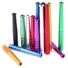 3 uds tubo de humo multicolor de aleación de aluminio tubo de humo de Metal portátil Snuff Sniffer Snorter paja tubo Nasal Snuffer Color bala al azar