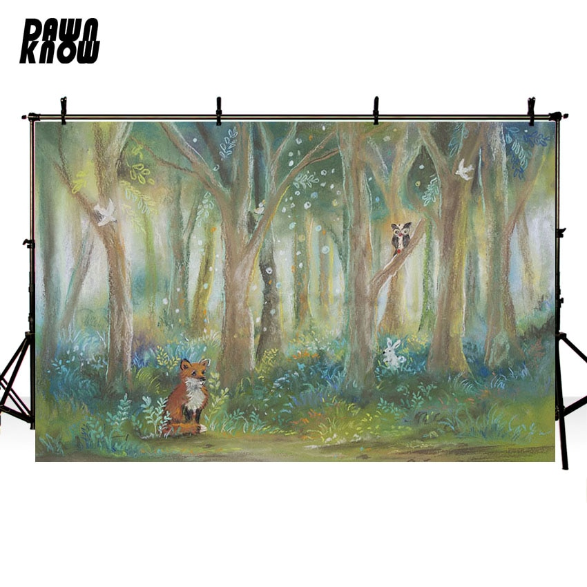DAWNKNOW Forest Fox Vinyl Photography Background For Baby Oil Painting Photo Shoot Backdrop For Birthday Party Photo Studio G905