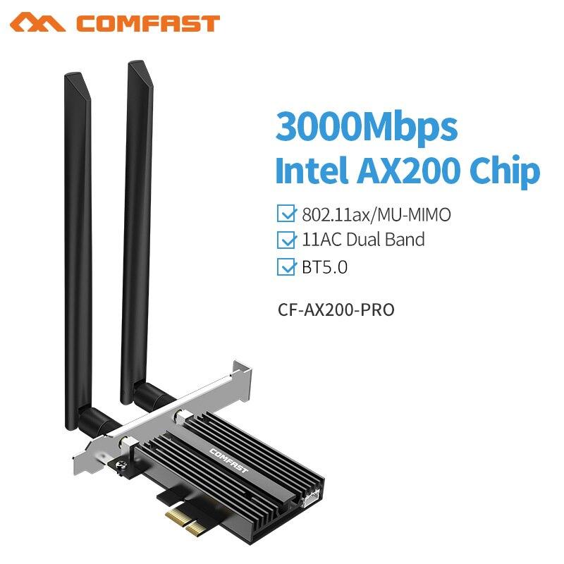 AX200 pro 802.11AX 3000Mbps, tarjeta de red Wifi 6 PCI-e, Bluetooth 5,0 inalámbrico Wifi6, PCI Express, adaptador Wifi 5G AX200NGW
