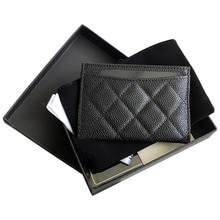 Luxury Top Quality Genuine Leather With LOGO ID Credit Card Wallet Coin Purse Cowhide Caviar Card Ho