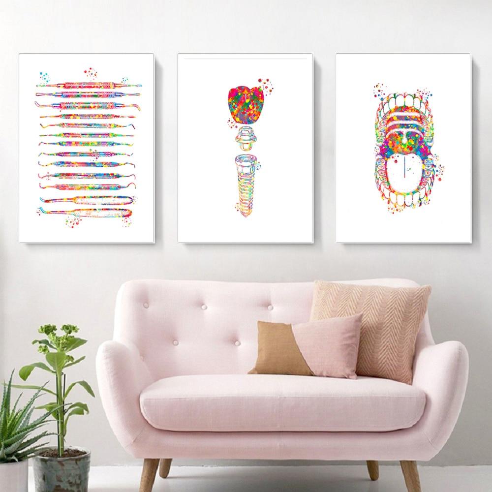 Decoración de pared clínica, equipo Dental, carteles médicos e impresiones coloridas de Arte de guerra, pintura en lienzo, regalo de dentista sin marco