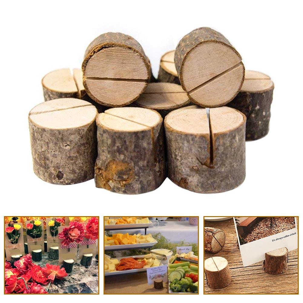 10Pcs Natural Round Wood Table Number Card Clip Holder Stand Wedding Party Decor kicute wood artist easel wedding table number place name card photos stand display holder diy party table tools