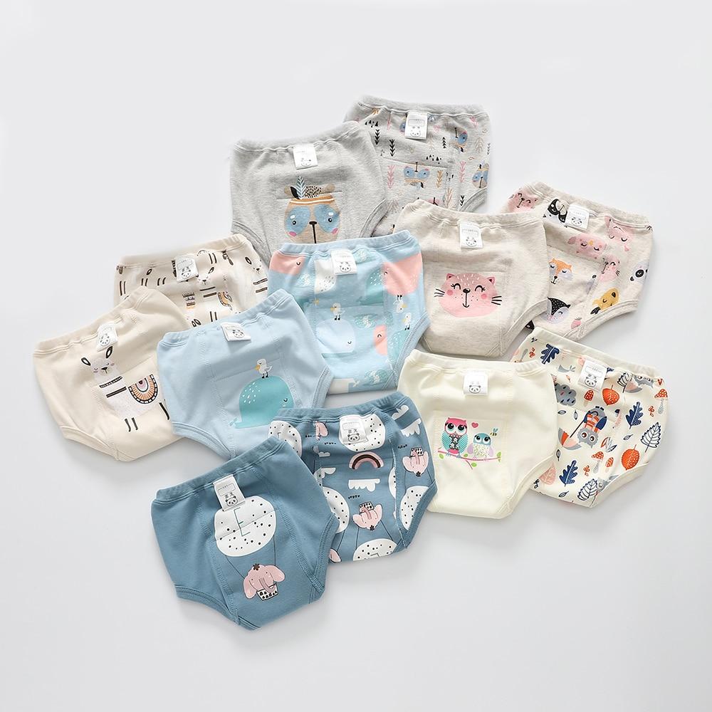 2pcs Baby Diapers Reusable Cotton Cloth Diaper Washable Cartoon Cute Nappy Newborn Waterproof Diaper Training Pants for Infant