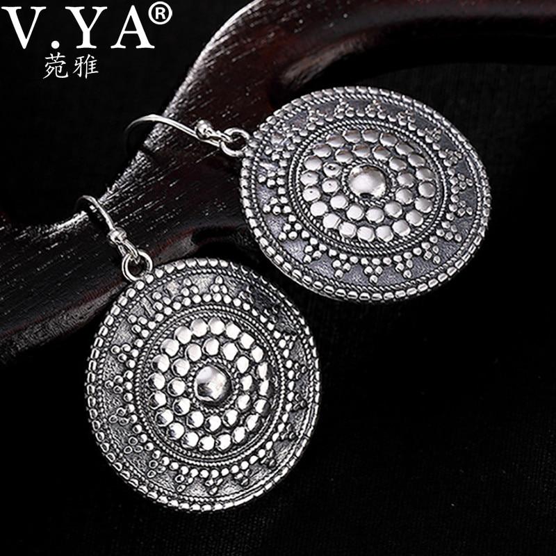V.YA S925 Silver Round Earring Bohemian Vintage Ethnic Tibetan Silver Drop Earring For Women Carved Flowers Dangle Earrings