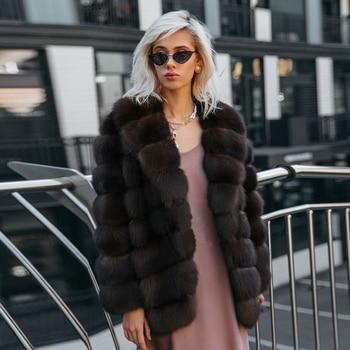 Fashion Winter Real Fox Fur Coats for Women 2021 New High Street Causal Women Genuine Fox Fur Jacket Medium Length Outwear Woman