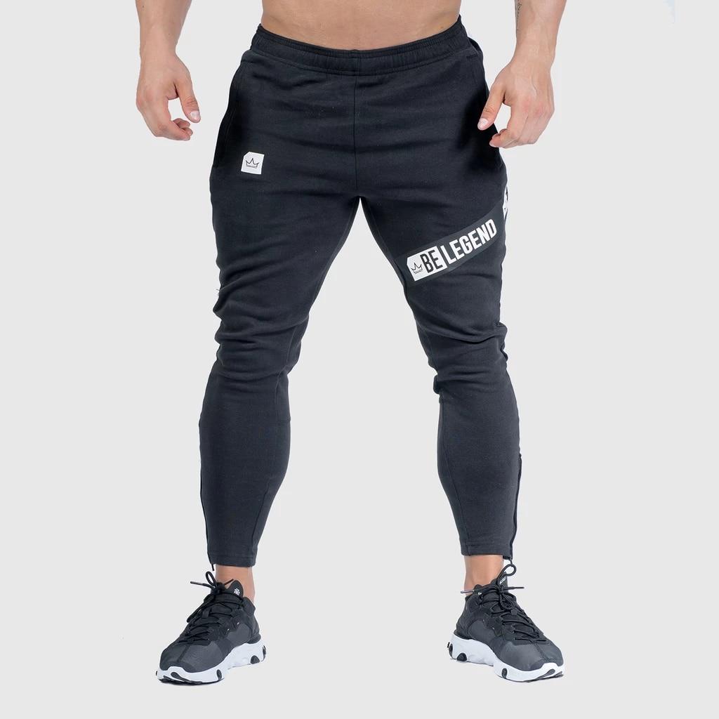Joggers, pantalones de chándal para hombre, pantalones informales ajustados de Color sólido para gimnasio, ropa deportiva de algodón para otoño, pantalones de chándal para ejercicio Crossfit para hombre