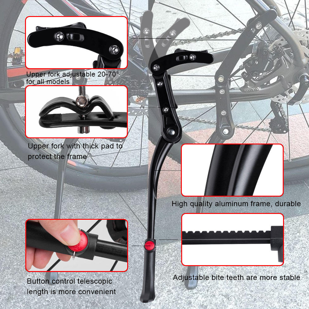 Adjustable Bicycle Foot Support Kickstand Mountain Bike Aluminum Side Rear Kick Stand Accessories Foot Brace Cycling Parts 2021