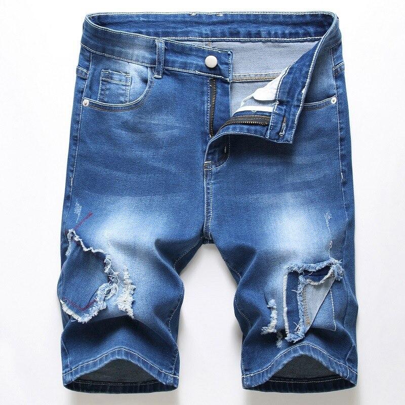 Verão azul denim shorts masculinos jeans elasticidade remendo shorts dos homens bermuda skate board retalhos rasgado shorts 28-42