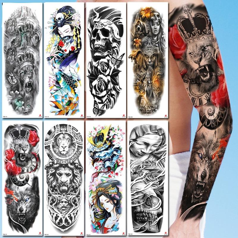 Full Arm Large Size Sleeve Tatoo Waterproof Temporary Tattoo Sticker Totem Tattoo Fake Tattoo Flash Tattoo Geometric Tattoo