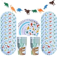 dino party supplies 49pcs dinosaur disposable tableware set paper plate cup napkin banner kids boy birthday party decorations