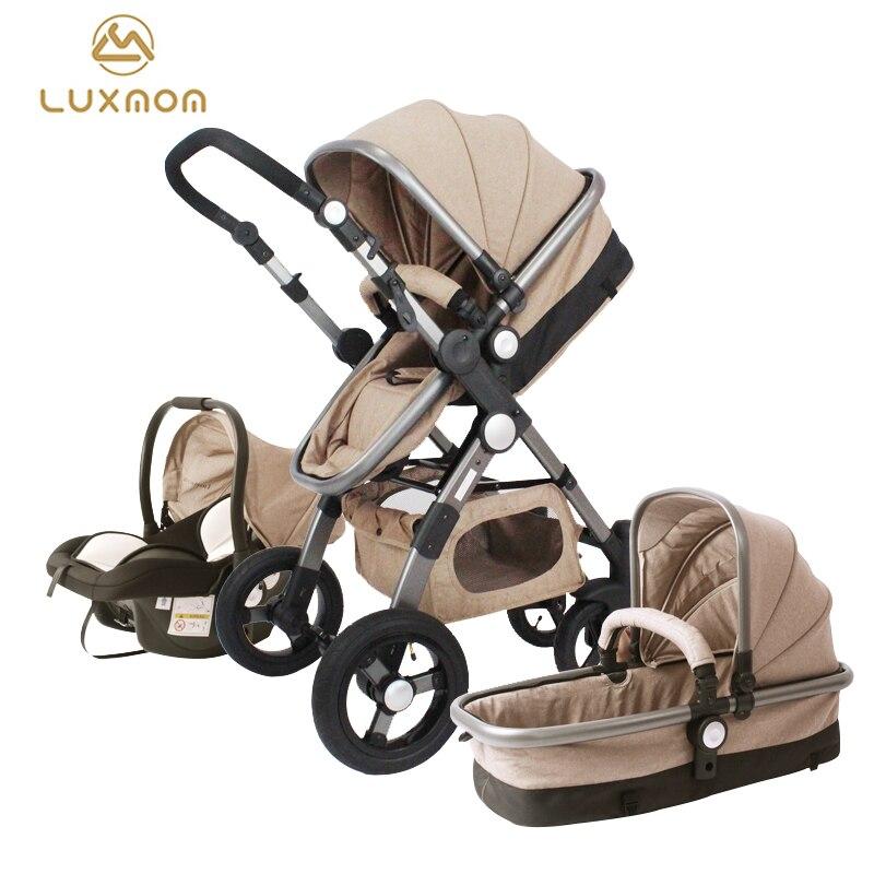 Cochecito de bebé Luxmom 3 en 1 2 en 1 plegable fácil de llevar neumáticos grandes seguro y estable Rusia envío gratis