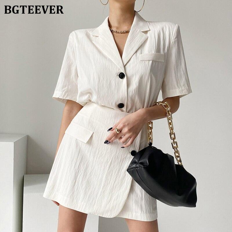 BGTEEVER شيك أزياء الصيف المرأة 2 قطعة مجموعة سترة قصيرة الأكمام السترات و عالية الخصر السراويل أنيقة السيدات الصلبة قصيرة الدعاوى