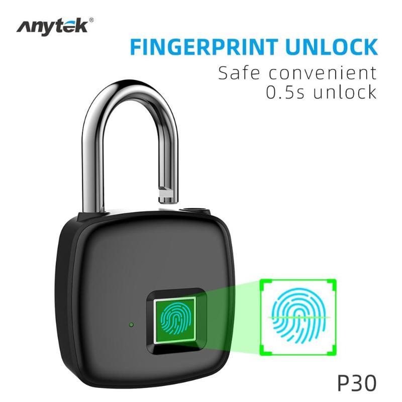 Anytek P30 Умный Замок без ключа с отпечатком пальца, водонепроницаемый замок с защитой от кражи, USB Перезаряжаемый замок для двери багажа, чемод...