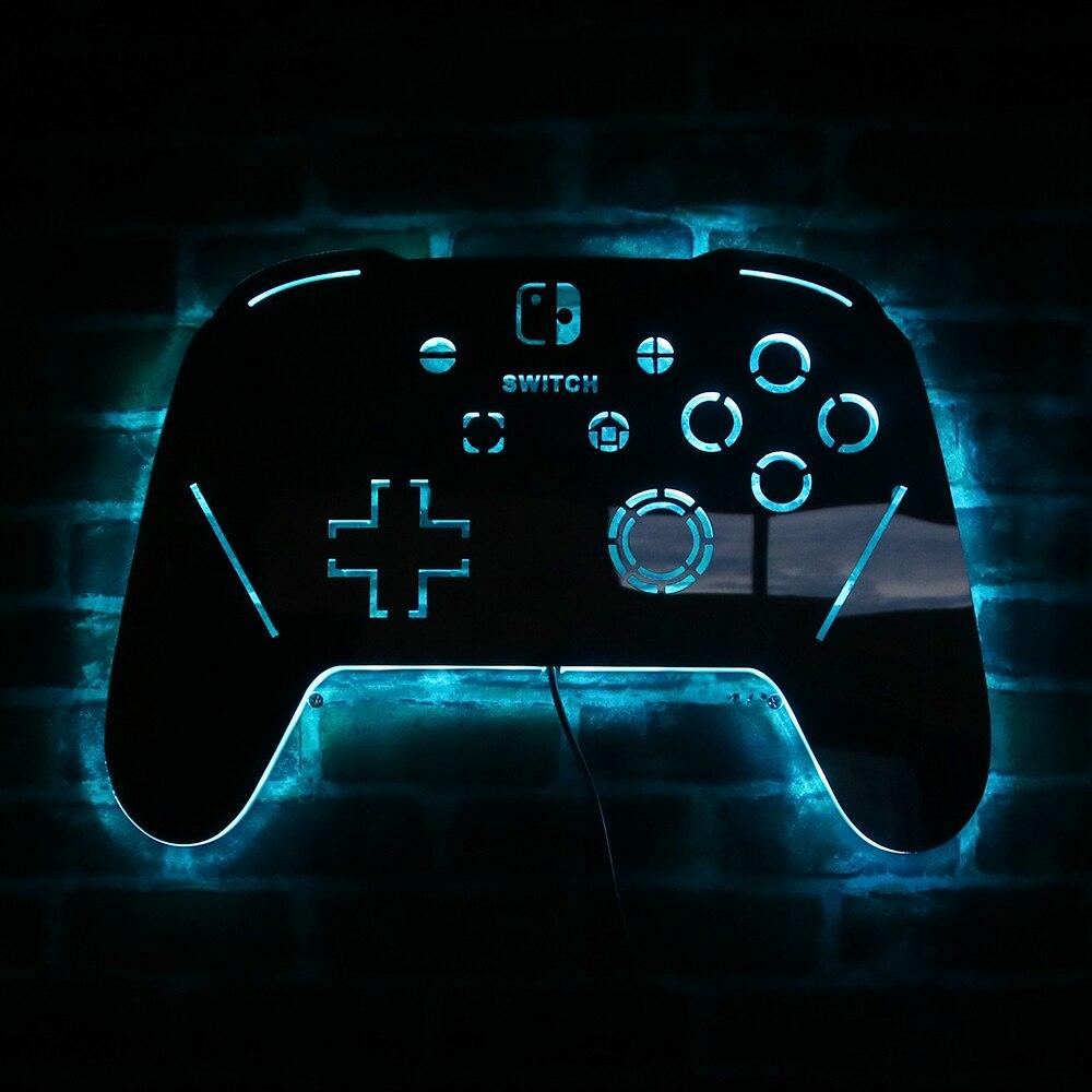 مصباح حائط LED مع جهاز تحكم عن بعد ، ضوء مرآة لألعاب الفيديو ، منطقة الألعاب ، لافتة الحائط ، هدايا ألعاب ، جهاز تحكم عن بعد